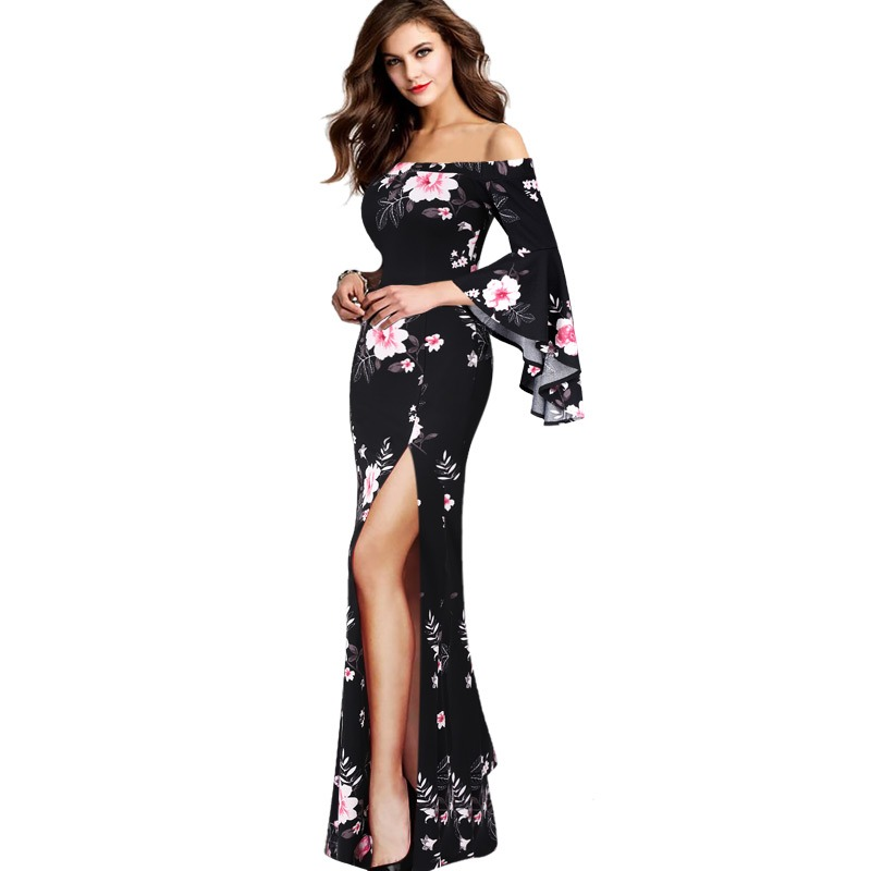 26129a3d83 Vfemage Womens Sexy Flare Bell Sleeve Off Shoulder Floral Print Lace ...